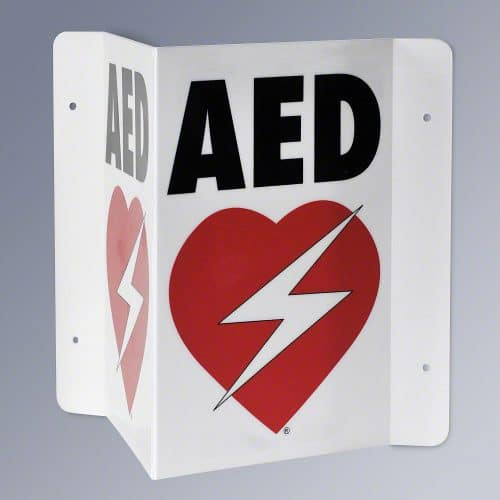aed plastic wall sign