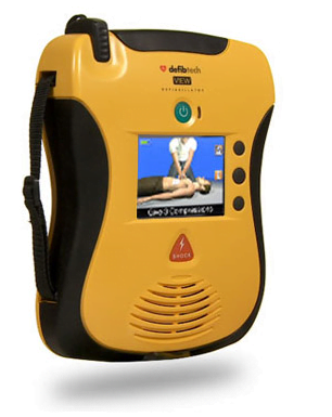 Lifeline VIEW AED showing cpr video