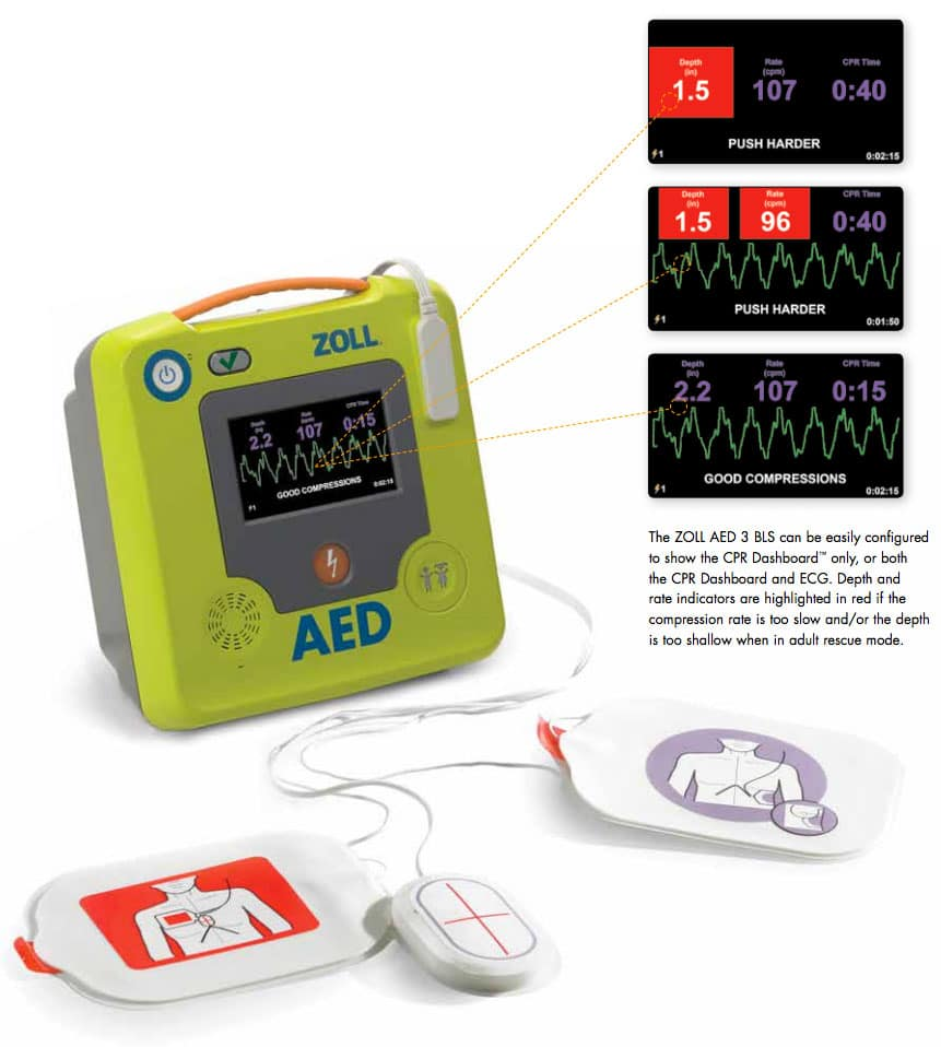 zoll aed 3 bls dashboard and ecg