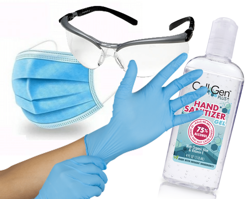 ppe masks hand sanitizer gel safety glasses